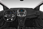 Stock photo of straight dashboard view of a 2015 Ford Transit Connect Trend 5 Door Minivan Dashboard