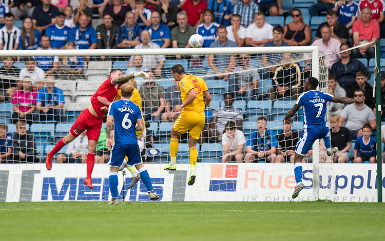 Bolton Wanderers' Remi Matthews (left) clears the ball as Bolton Wanderers come under pressure form Gillingham <br /> <br /> Photographer David Horton/CameraSport<br /> <br /> The EFL Sky Bet League One - Gillingham v Bolton Wanderers - Saturday 31st August 2019 - Priestfield Stadium - Gillingham<br /> <br /> World Copyright © 2019 CameraSport. All rights reserved. 43 Linden Ave. Countesthorpe. Leicester. England. LE8 5PG - Tel: +44 (0) 116 277 4147 - admin@camerasport.com - www.camerasport.com