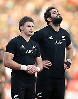 PRETORIA, SOUTH AFRICA - OCTOBER 06: Beauden Barrett and Sam Whitelock during the National Anthem during the Rugby Championship match between South Africa Springboks and New Zealand All Blacks at Loftus Versfeld Stadium. on October 6, 2018 in Pretoria, South Africa. Photo: Steve Haag / stevehaagsports.com