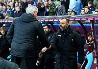 Aston Villa Manager Steve Bruce and Wolverhampton Wanderers Manager Nuno shake hands before the match between Aston Villa v Wolverhampton Wanderers.<br /> <br /> Photographer Leila Coker/CameraSport<br /> <br /> The EFL Sky Bet Championship - Aston Villa v Wolverhampton Wanderers - Saturday 10th March 2018 - Villa Park - Birmingham<br /> <br /> World Copyright &copy; 2018 CameraSport. All rights reserved. 43 Linden Ave. Countesthorpe. Leicester. England. LE8 5PG - Tel: +44 (0) 116 277 4147 - admin@camerasport.com - www.camerasport.com