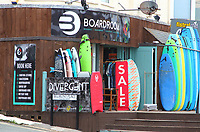 The UK's centre of Surfing is around the varied coastline and beaches of Cornwall in the very south west of the mainland. Surfers head there every summer and there are numerous, surf school, surf shops dotted around the popular Cornish towns. August 2019<br /> <br /> Photo by Keith Mayhew