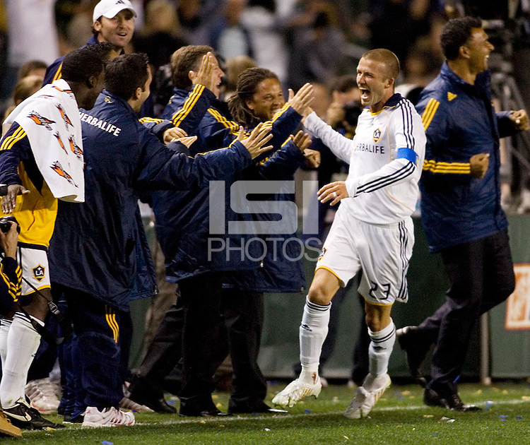 LA Galaxy midfielder and captain David Beckham (23) celebrates after scoring his goal lduring a MLS game. The LA Galaxy defeated the Kansas City Wizards 3-1 at Home Depot Center stadium in Carson, Calif., on Saturday, May 24, 2008.