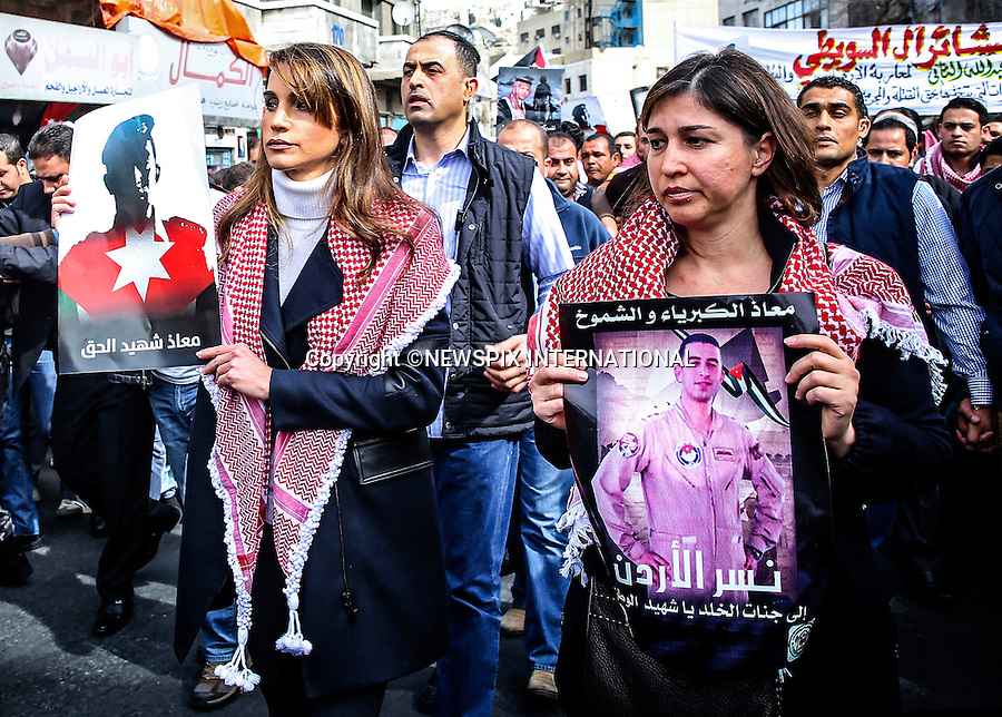 QUEEN RANIA<br /> joins thousands of Jordanians after Friday noon prayers in downtown Amman in a unity march to honor the memory of  the Jordanian Air Force pilot Captain Muath Kasasbeh who was killed by the members of the Islamic State(ISIS)_6/02/2015<br /> Mandatory Photo Credit: &copy;Royal Hashemite Court/NEWSPIX INTERNATIONAL<br /> <br /> **ALL FEES PAYABLE TO: &quot;NEWSPIX INTERNATIONAL&quot;**<br /> <br /> PHOTO CREDIT MANDATORY!!: NEWSPIX INTERNATIONAL(Failure to credit will incur a surcharge of 100% of reproduction fees)<br /> <br /> IMMEDIATE CONFIRMATION OF USAGE REQUIRED:<br /> Newspix International, 31 Chinnery Hill, Bishop's Stortford, ENGLAND CM23 3PS<br /> Tel:+441279 324672  ; Fax: +441279656877<br /> Mobile:  0777568 1153<br /> e-mail: info@newspixinternational.co.uk
