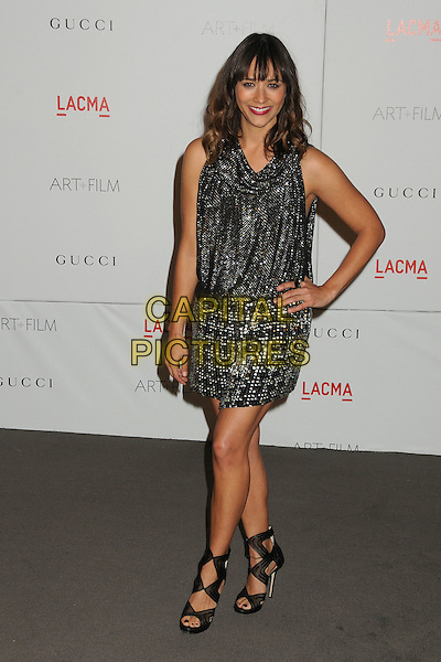 Rashida Jones.The Inaugural Art and Film Gala held at LACMA in Los Angeles, California, USA..November 5th, 2011.full length dress shoes silver print skirt sleeveless top open toe black ankle hand on hip .CAP/ADM/BP.©Byron Purvis/AdMedia/Capital Pictures.