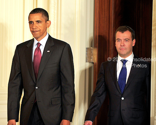 United States President Barack Obama, left, and President Dmitry Medvedev of the Russian Federation, left, arrive to conduct a joint press conference with  in the East Room of the White House in Washington, D.C. on Thursday, June 24, 2010..Credit: Ron Sachs / CNP