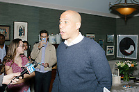 Democratic presidential candidate Senator Cory Booker (D-NJ) speaks to the media during an avail after speaking at a house party at the home of State Senator Shannon Chandley and Tom Silva in Amherst, New Hampshire, USA, on Sat., Apr. 6, 2019.