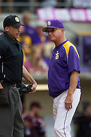 LSU Tigers Head Coach Paul Mainieri (1) argues with home plate umpire Kevin Sweeney  during the Southeastern Conference baseball game against the Texas A&M Aggies on April 25, 2015 at Alex Box Stadium in Baton Rouge, Louisiana. Texas A&M defeated LSU 6-2. (Andrew Woolley/Four Seam Images)