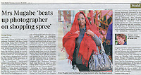 UK Times Newspaper, Jan 2009, showing the incident where Grace Mugabe attacked photographer Richard Jones. ©sinopix