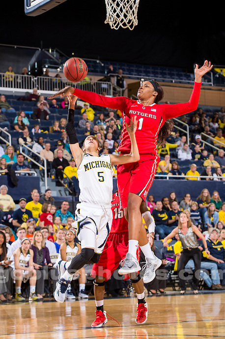 The University of Michigan women's basketball team falls to Rutgers, 57-50, at Crisler Center in Ann Arbor, Mich. on February 8, 2015.