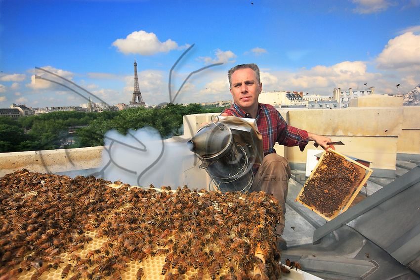 """On the roof of the Grand Palais in Paris, Nicolas Géant opens a hive. """"The honey of the Grand Palais will be sold on the spot. For the moment, there are two hives, and the goal is to have five or six.  I want to systematize this operation with the big companies in a city, in Paris and elsewhere: I am mounting a project with Google in California where half the roofs are equipped with solar panels. My main message is to again put the bees as close as possible to Man, like they have always been.""""."""