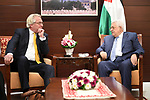 Palestinian President Mahmoud Abbas (Abu Mazen) meets with the Norwegian envoy for the peace process, Tor Winsell in the West Bank city of Ramallah on October 4, 2017. Photo by Osama Falah