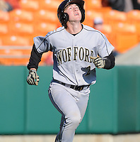Catcher Luke Feisal (2) of the Wofford Terriers in a game against the Clemson Tigers on Wednesday, March 6, 2013, at Doug Kingsmore Stadium in Clemson, South Carolina. Clemson won, 9-2. (Tom Priddy/Four Seam Images)