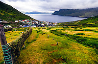 Faroe Islands. Funningur town on the north-west coast of Eysturoy.