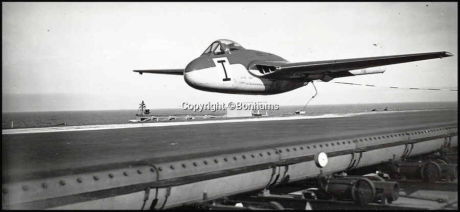 BNPS.co.uk (01202 558833)<br /> Pic: Bonhams/BNPS<br /> <br /> Eric Brown flying a Hawker P1040 as he carries out 'Catapulting Proofing' take offs on an aircraft carrier in April 1949.<br /> <br /> The historic medals and logbooks of legendary test pilot Eric 'Winkle' Brown have been saved for the nation and will be displayed in a British museum.<br /> <br /> A deal has been secured for the hero's prestigious decorations and all his flying journals after they failed to sell at auction earlier this week.<br /> <br /> They had been expected to sell for &pound;200,000, possibly to an overseas buyer, but bidding only reached &pound;140,000, falling short of the reserve price.<br /> <br /> Now it has emerged that the National Museum of the Royal Navy has negotiated a deal with Captain Brown's family to buy his stunning archive.