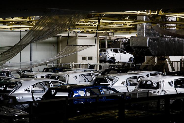 Toyota city, July 16 2014 - Painting process at Takaoka plant.