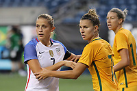 Seattle, WA - Thursday July 27, 2017: Abby Dahlkemper, and Steph Catley during a 2017 Tournament of Nations match between the women's national teams of the United States (USA) and Australia (AUS) at CenturyLink Field.