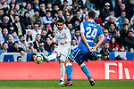 Carlos Henrique Casemiro (L) of Real Madrid competes for the ball with Fabian Lukas Schar of RC Deportivo La Coruna during the La Liga 2017-18 match between Real Madrid and RC Deportivo La Coruna at Santiago Bernabeu Stadium on January 21 2018 in Madrid, Spain. Photo by Diego Gonzalez / Power Sport Images