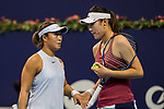Ying-Ying Duan (R) and Xinyun Han (L) of China talk during the doubles Round Robin match of the WTA Elite Trophy Zhuhai 2017 against Chen Liang and Zhaoxuan Yang of China at Hengqin Tennis Center on November  04, 2017 in Zhuhai, China. Photo by Yu Chun Christopher Wong / Power Sport Images