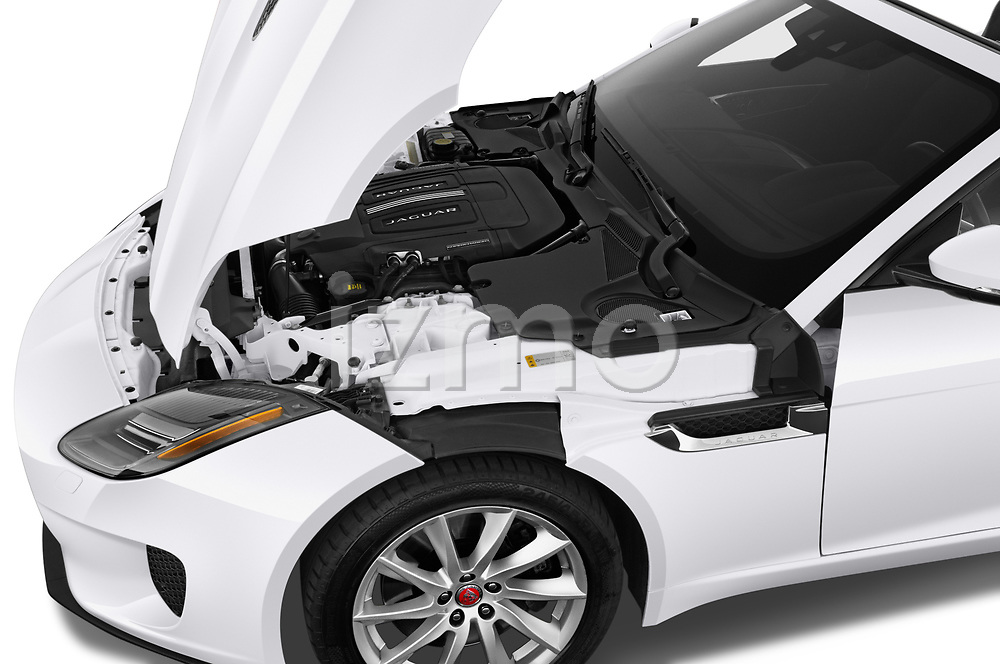 Car Stock 2019 Jaguar F-Type - 2 Door Convertible Engine  high angle detail view