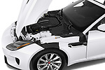 Car Stock 2019 Jaguar F-Type - 2 Door Convertible Engine  high angle detail view