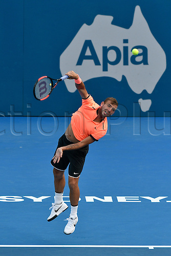 12.01.17 Sydney Olympic Park, Sydney, Australia. Daniel Evans (GBR) seres against Dominic Thiem (AUT) during their quarter final match on day 5 at the Apia International Sydney. Evans won 3-6,6-4,6-1.