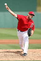 Jordan Walden #51 of the Los Angeles Angeles pitches against the Cincinnati Reds in a spring training game at Tempe Diablo Stadium on March 1, 2011  in Tempe, Arizona. .Photo by:  Bill Mitchell/Four Seam Images.