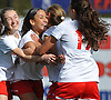 Isa Rios #44 of Wheatley, second from left, gets congratulated by teammates after scoring a goal in the first half of the Nassau County varsity girls soccer Class B final against Carle Place at Cold Spring Harbor High School on Tuesday, Nov. 1, 2016. Wheatley won by a score of 5-0.