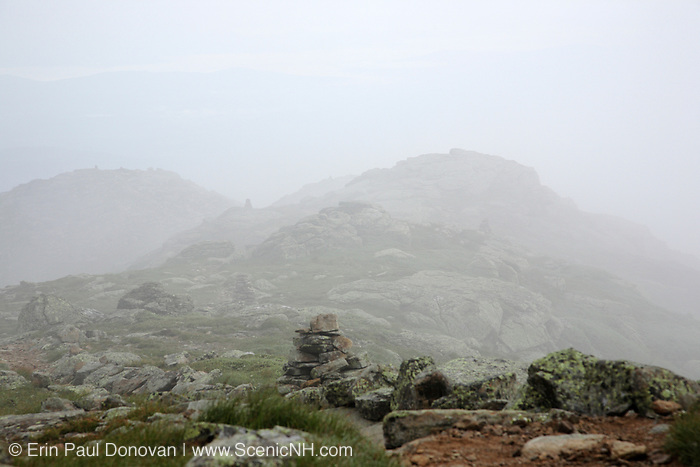 Foggy conditions, near North Lafayette, along the Appalachian Trail (Garfield Ridge Trail) in the White Mountains of New Hampshire during the summer months.