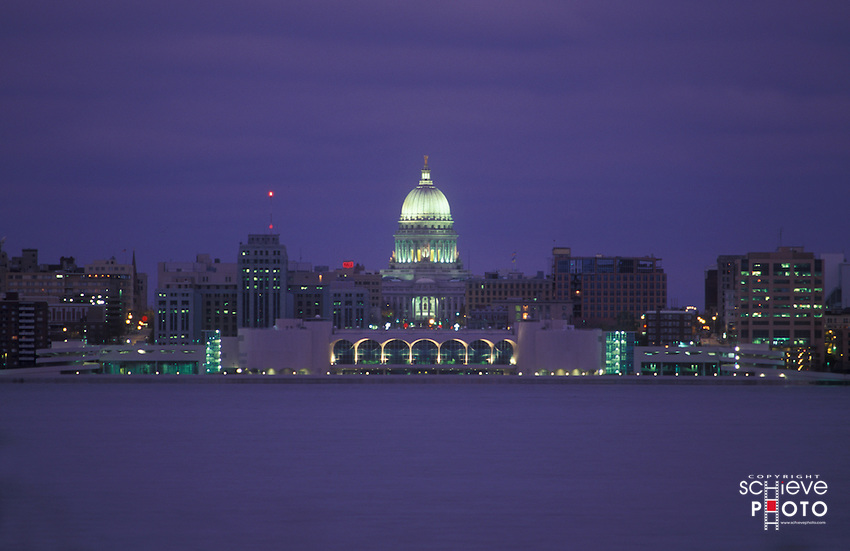 Madison, Wisconsin skyline at night.
