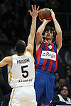 FC Barcelona's Ricky Rubio (r) and Real Madrid's Pablo Prigioni during Euroleague Basketball match. March 30, 2010. (ALTERPHOTOS/Acero)