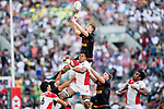 Germany vs Japan during the HSBC World Rugby Sevens Series Qualifier Final match as part of the HSBC Hong Kong Rugby Sevens 2018 on 08 April 2018, in Hong Kong, Hong Kong. Photo by Chung Yan Man / Power Sport Images