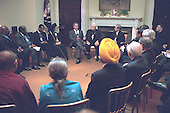 United States President George W. Bush meets with religious leaders in the Roosevelt Room of the White House in Washington, D.C. on Thursday, September 20, 2001..Mandatory Credit: Tina Hager - White House via CNP.