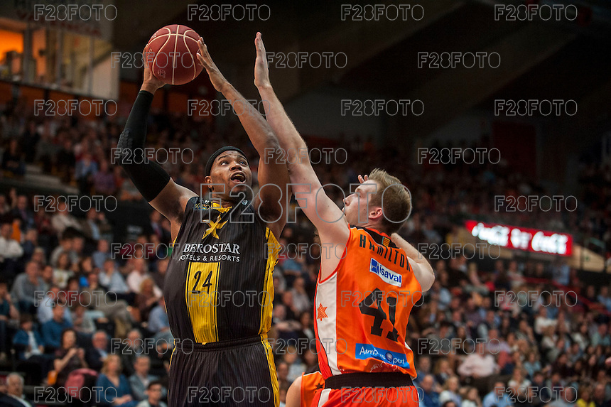 VALENCIA, SPAIN - APRIL 24: Joseph Jones, Hamilton during ENDESA LEAGUE match between Valencia Basket Club and Iberostar Gran Canaria at Fonteta Stadium on April, 2016 in Valencia, Spain