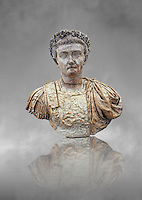 Roman marble sculpture bust of Emperor Tiberius by Guglielmo della Porta 40 AD, inv 6051, Museum of Archaeology, Italy