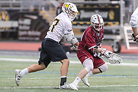 Towson, MD - May 6, 2017: UMASS Minutemen Shane Rinkus (12) gets the groundball during game between Towson and UMASS at  Minnegan Field at Johnny Unitas Stadium  in Towson, MD. May 6, 2017.  (Photo by Elliott Brown/Media Images International)
