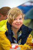 Ella (Sweden) wearing the official Swedish contingent jacket and scarf.