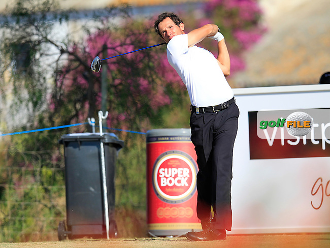 Matteo Delpodio (ITA) tees off the 9th tee during Friday's Round 2 of the 2013 Portugal Masters held at the Oceanico Victoria Golf Club. 11th October 2013.<br /> Picture: Eoin Clarke www.golffile.ie