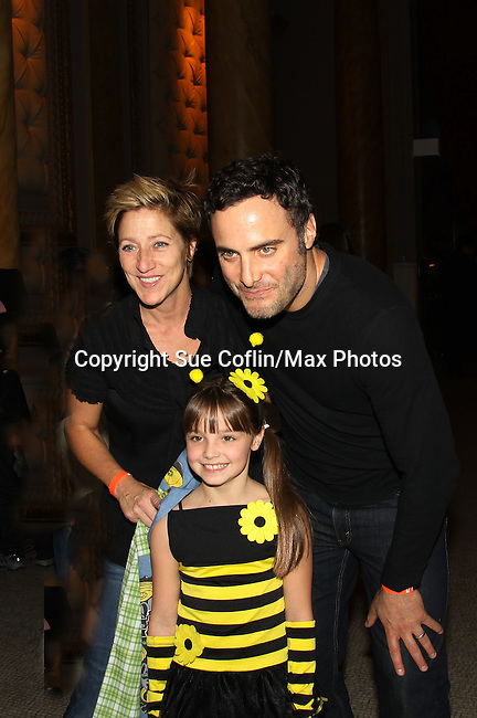 "Edie Falco - Mackenzie Aladjem - Dominic Fumusa = Nurse Jackie and Mackenzie is also ""Miranda Montgomery"" currently on AMC - Erica Kane's Granddaughter at The 9th Annual Dream Halloween New York hosted by Children Affected by Aids Foundation (CAAF) took place at Capitale on Sunday, October 24, 2010 in New York City, NY. Local NY beneficiaries include The Family Center, Bailey House and God's Love We Deliver. (Photo by Sue Coflin/Max Photos)"
