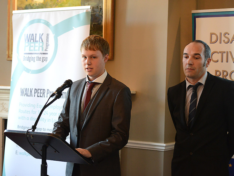 Andrew O'Neill employee and Neil Lacey Tower Restaurant Millmount Drogheda speaking at the launch of the Walk Peer Programme in Bellingham Castle hotel. Photo:Colin Bell/pressphotos.ie