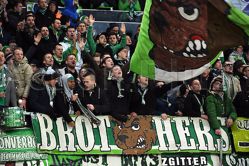 17.02.2016. Gent, Belgium. UEFA Champions League football. KAA Gent versus VfL Wolfsburg.  Supporters and Fans of VfL Wolfsburg