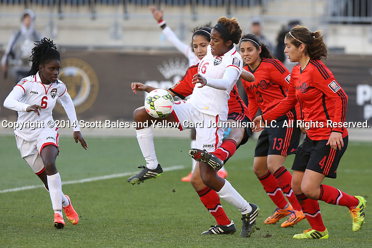 26 October 2014: Brianna Ryce (TRI) (16). The Trinidad & Tobago Women's National Team played the Mexico Women's National Team at PPL Park in Chester, Pennsylvania in the 2014 CONCACAF Women's Championship Third Place game. Mexico won the game 4-2 after extra time. With the win, Mexico qualified for next year's Women's World Cup in Canada and Trinidad & Tobago face playoff for spot against Ecuador.