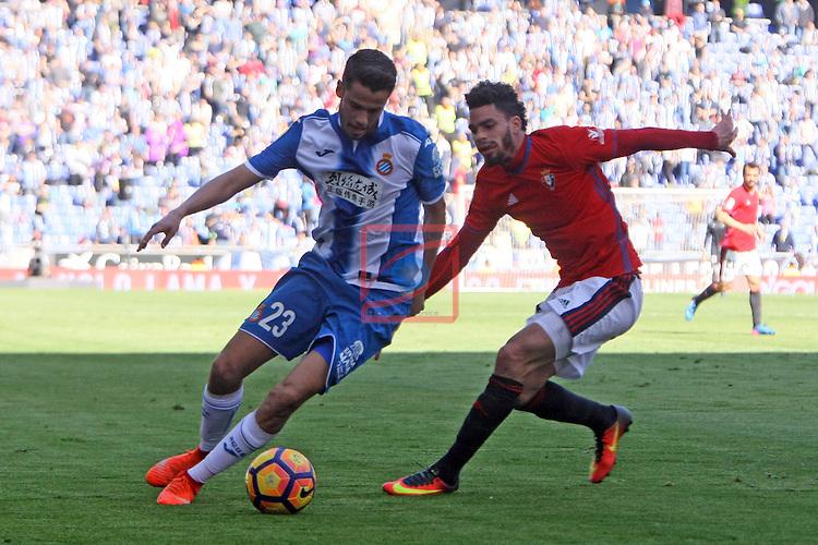 League Santander 2016/2017. Game: 24.<br /> RCD Espanyol vs CA Osasuna: 3-0.<br /> Diego Reyes vs Riviere.