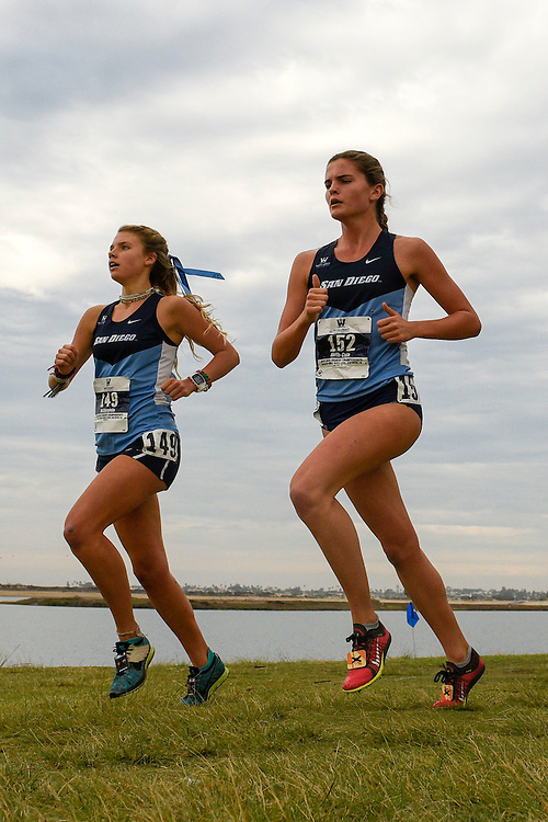 October 28, 2016; San Diego, CA, USA; San Diego Toreros runner Hope  McClaughlin (149), San Diego Toreros runner Natalie  North-Cole (152) during the WCC Cross Country Championships at Tecolote Shores Park.