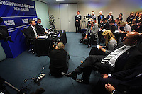 NZ Rugby 2011 CEO Martin Sneddon and Rugby World Cup general manager Ross Young announce Wellington and Christchurch as the venues for the 2011 RWC quarter-finals, as NZRU chairman Jock Hobbs (right) listens to proceedings. 2011 Rugby World Cup Quarter-finals and Bronze Final Venue Announcement at the Rugby New Zealand 2011 offices, Wellington, New Zealand on Thursday, 4 September 2008. Photo: Dave Lintott / lintottphoto.co.nz