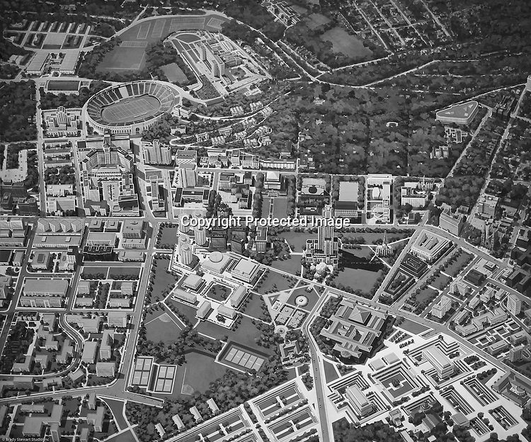 Pittsburgh PA:  Futuristic view of the University of Pittsburgh campus -1958.  Illustration was created by Deeter Ritchey Architects who had just completed the Litchfield Towers dorms at Pitt. <br />