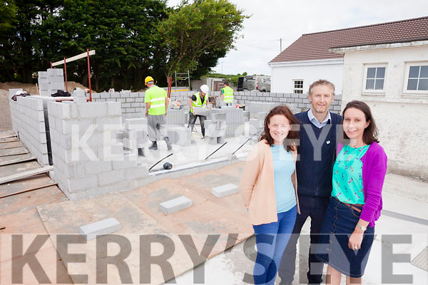 Staff from Killocrim National School Causeway, Hannah McCarthy, Padraig O'Regan (Principal) and Marion O'Flaherty, pictured beside the new school classroom which will be ready in time for the pupils in September.