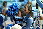 20 November 2016: UNC cheerleaders. The University of North Carolina Tar Heels hosted the Bucknell University Bisons at Carmichael Arena in Chapel Hill, North Carolina in a 2016-17 NCAA Women's Basketball game. UNC won the game 65-50.
