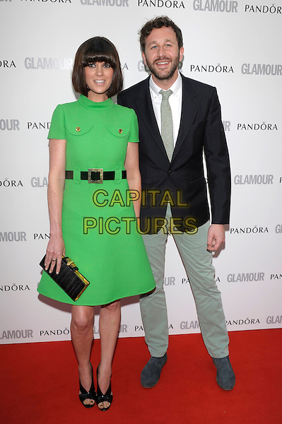 Dawn Porter & Chris O'Dowd.Women Of The Year 2012 - Glamour Awards, Berkeley Square, London, England..29th May 2012.full length green dress black belt clutch bag suit jacket grey gray trousers .CAP/PL.©Phil Loftus/Capital Pictures.