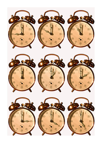 Eight alram clocks show the itme from 9 to 5 the normal working day on a white background, coceptual wallpaper