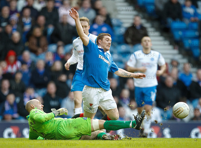 John Fleck goes down in the box as Peter Enckelman clears the ball with his feet